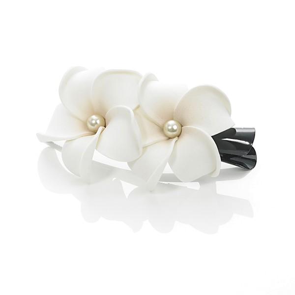Dolly Martin - Frangipani White 2 Blüten Haarclip